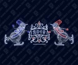 """Светодиодная 3D-фигура """"Снеговики на лыжах"""""""