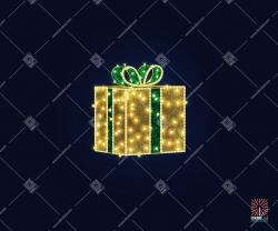 """Светодиодная 3D-фигура """"Новогодний подарок золотой"""""""