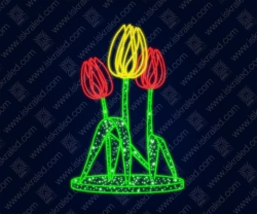 """Светодиодная 3D-фигура """"Тюльпановый букет"""""""
